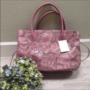 Eileen West NWT Dusty Rose Leather Cut Out Bag NWT